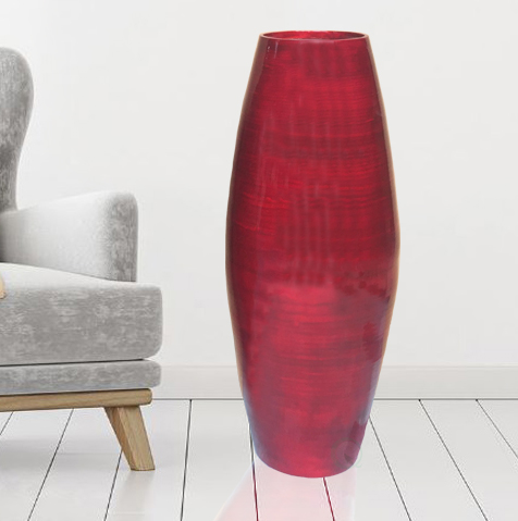"27.5"" Tall Bamboo Floor Vase, Red"