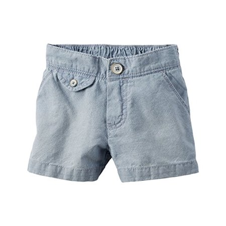 Little Girls' Flap Pocket Chambray Shorts, 6 Kids