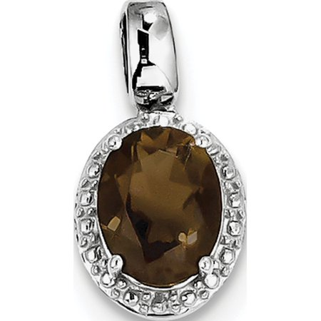 Leslies Fine Jewelry Designer 925 Sterling Silver Rhodium-plated with Smoky Quartz Oval (10x18mm) Pendant Gift
