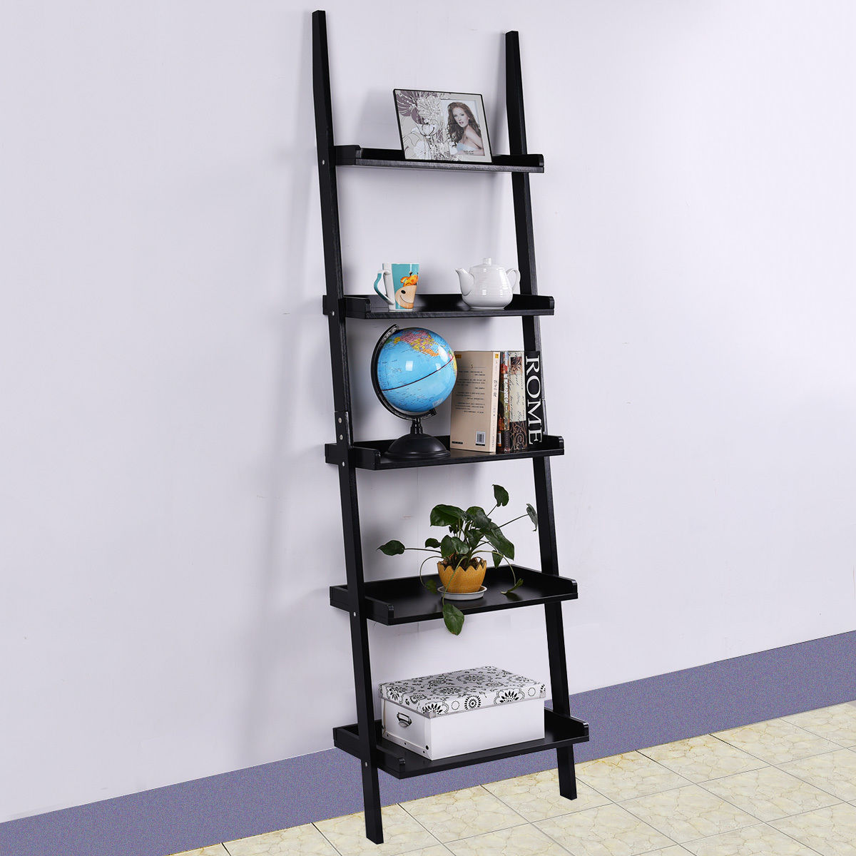 Goplus 5 Tier Bookshelf Leaning Wall Shelf Ladder Bookcase Storage Display  Furniture Black
