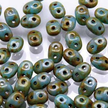 Turquoise Blue Travertine Dark SuperDuo Czech Two Hole Seed, Loose Beads, 2.5x5mm 20gr Dark Blue Czech Seed