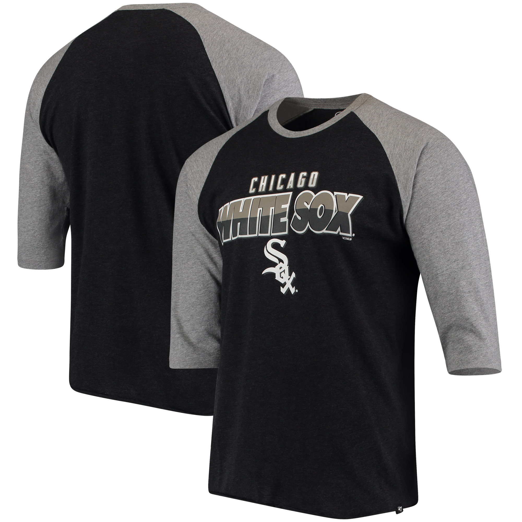 Chicago White Sox '47 Club 3/4-Sleeve Raglan T-Shirt - Black