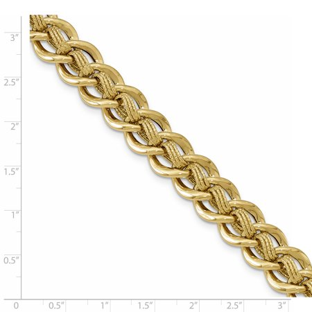 14K Yellow Gold Polished and Textured Fancy Link Bracelet - image 2 de 3
