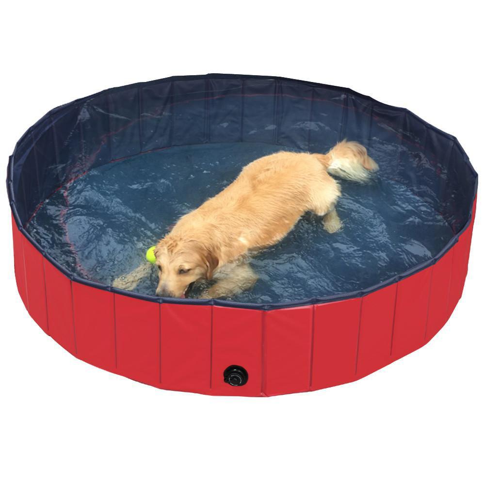 Yaheetech Foldable PVC Pet Swimming Pool Bathing Tub (Red L)   Walmart.com