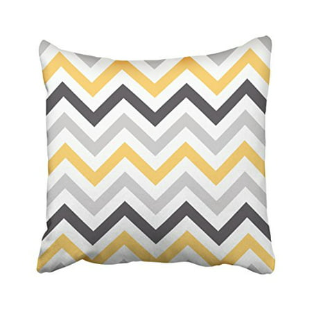 WinHome Decorative Gray Yellow and Black Chevron Pattern Design Decorative Throw Pillow Case Cover Size 18x18 inches Two Side ()