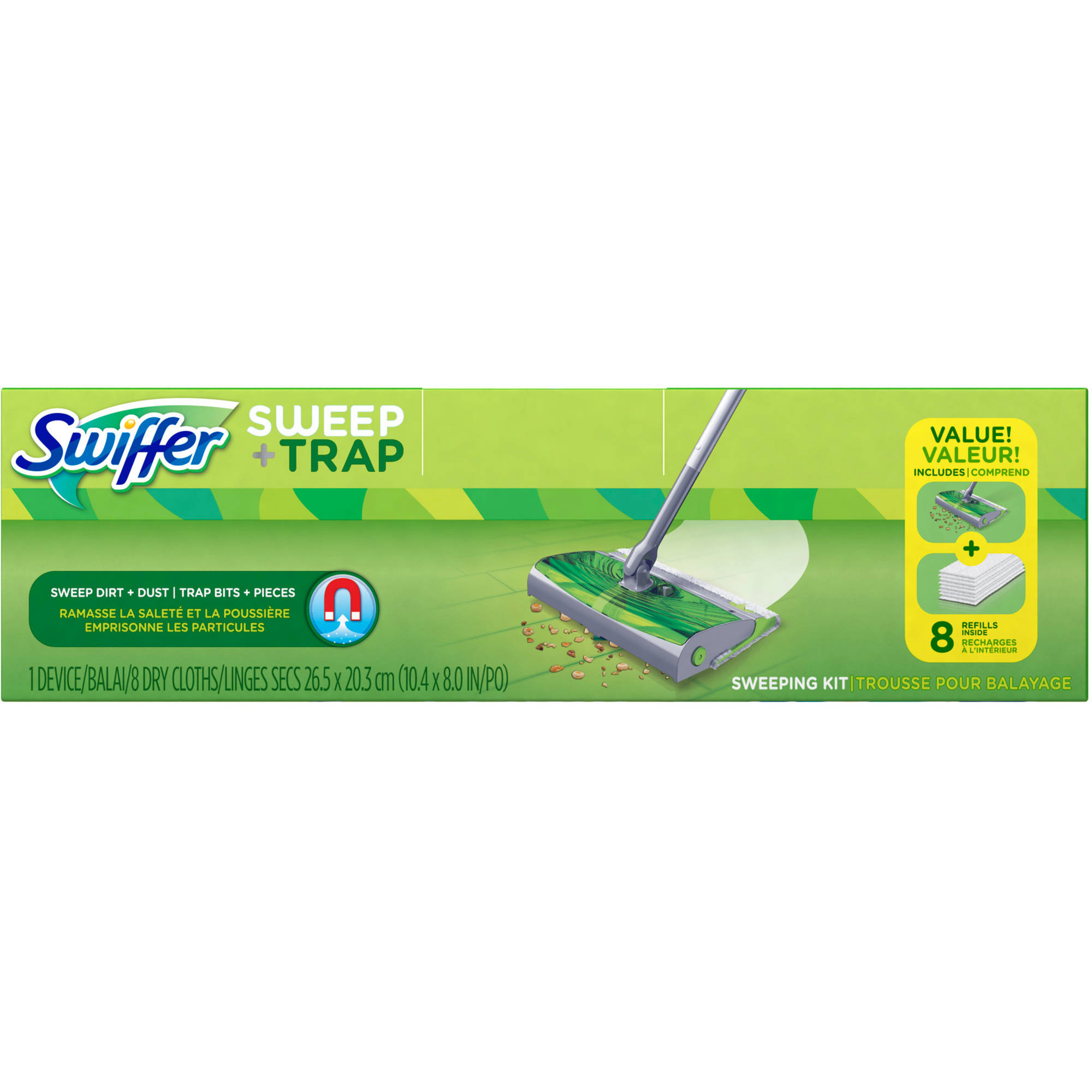Swiffer Sweep+Trap Floor Cleaner Starter Kit, 9 pc