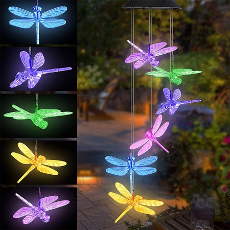 GLiving Wind Chimes Outdoor Solar Butterfly Wind Chimes Color Changing LED Mobile Wind Chime Make a Great Birthday Gifts for Mom, Hanging Decorative Romantic Patio Lights for Yard Garden Home Party ()