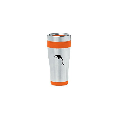 Orange 16oz Insulated Stainless Steel Travel Mug Z1805 Dolphin,MIP by