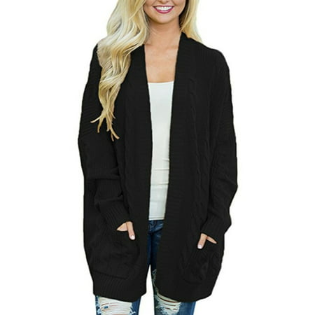 Plus Size Women Winter Cardigan Knitwear Tops Bat Sleeve Long Open Oversized Knit Sweater Outwear - Beaded Cardigan Jacket Black Top