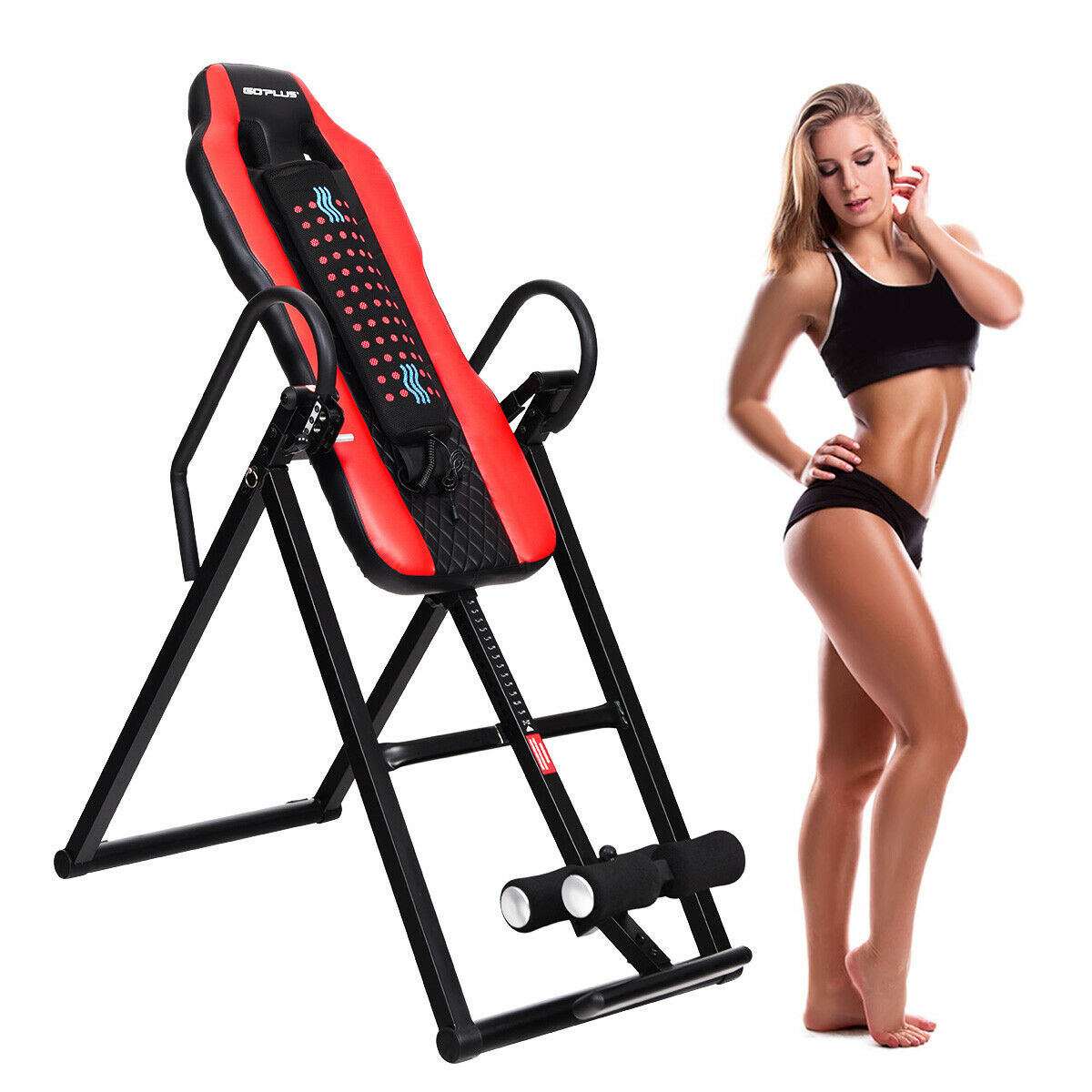 Goplus Heat & Massage Therapeutic Inversion Table Comfort Foam Backrest Fitness Therapy