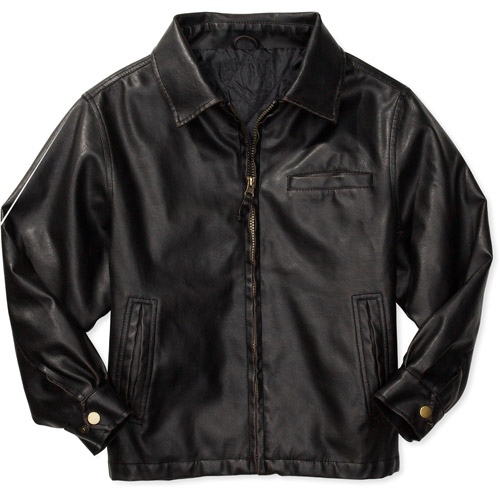 Faded Glory - Boys&39 Faux-Leather Bomber Jacket - Walmart.com