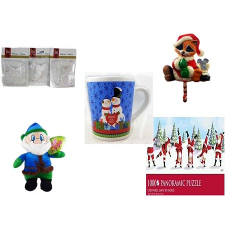 Christmas Fun Gift Bundle [5 Piece] - Brite Star Classic Trims Angel Ornament Set of 3 - Raccoon Santa Small Stocking Hanger - Happy s!