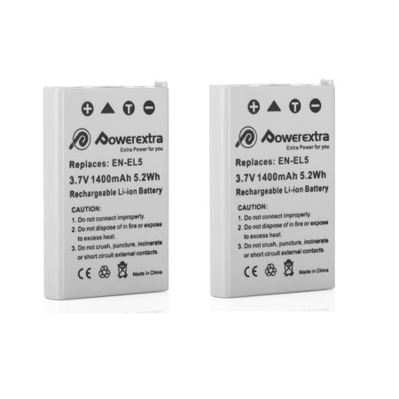 Powerextra 2-Pack EN-EL5 3.7v Replacement Battery for Nikon CoolPix 3700, 4200, 5200, 5900, 7900, P3, P4, P80, P90, P100, P500, P520, P5000, P6000, S10 (En El5 Replacement Battery)
