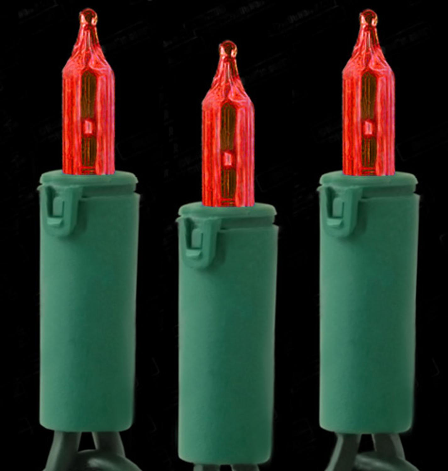 Set of 50 Dura-Lit Red Mini Christmas Lights - Green Wire