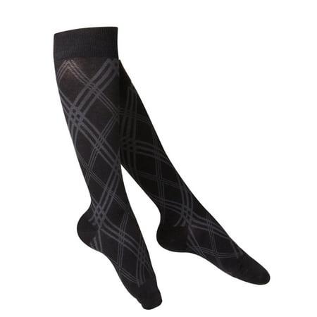 Compression Baseball Socks - Touch Women's Knee High Compression Socks, 20-30 mmHg, Black Argyle Pattern, Small