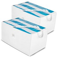 Jumbo Storage Bag Organizer (2 Pack) Large Capacity Storage Box with Reinforced Strap Handles, Clear Window, 600 Denier Oxford Material, Store Blankets, Comforters, Linen, Bedding, Seasonal Clothing