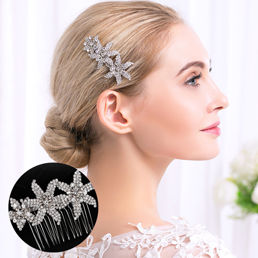 HiCoup Fashion Bridal Headwear Flower Full Rhinestone Hair Comb Wedding Hairpin Clip