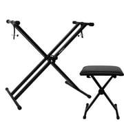 ChromaCast Universal Padded Piano Seat w/ Double Braced Electronic Keyboard Stand