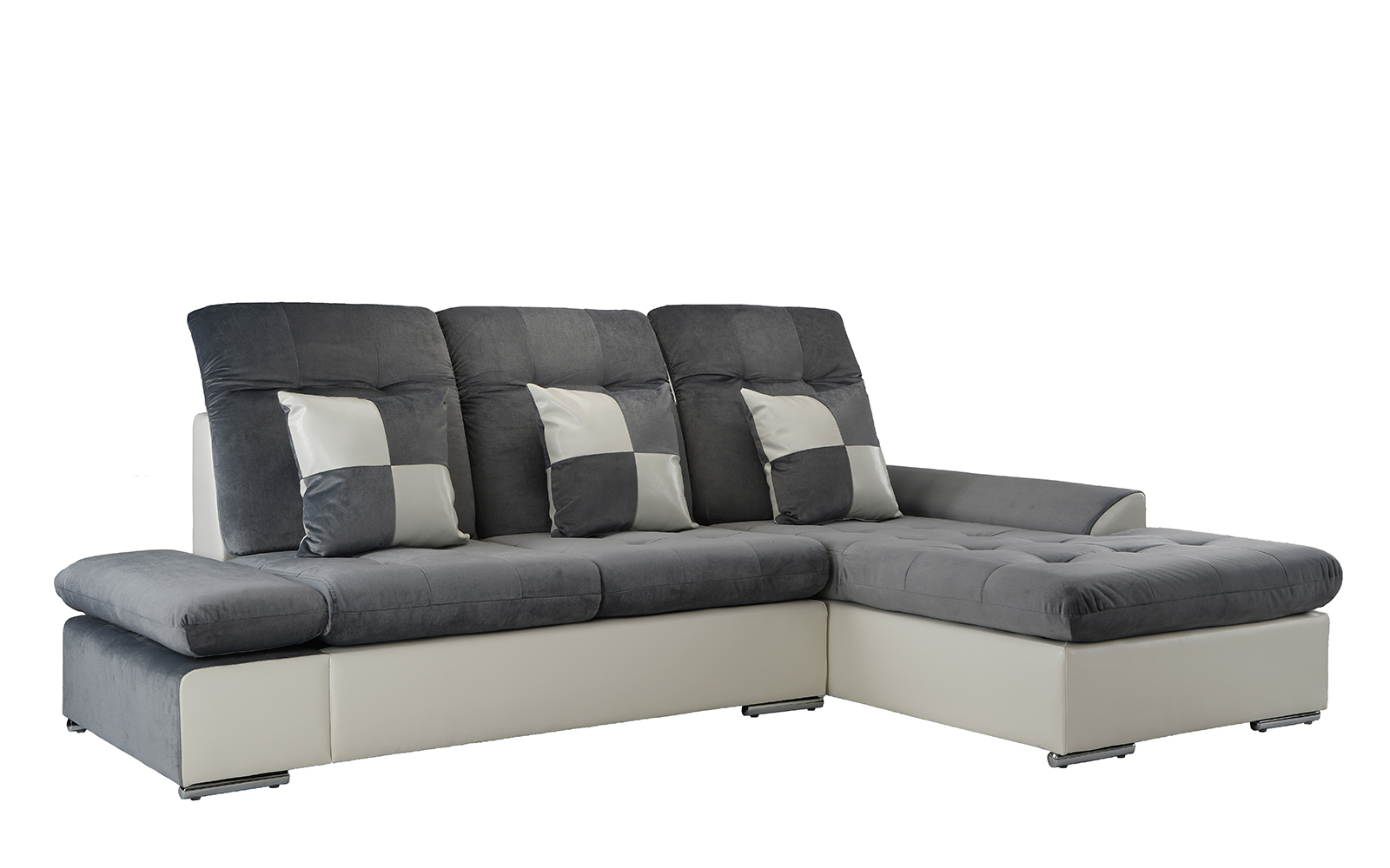 Contemporary Microfiber Sectional Sofa With Chaise In Dark Grey