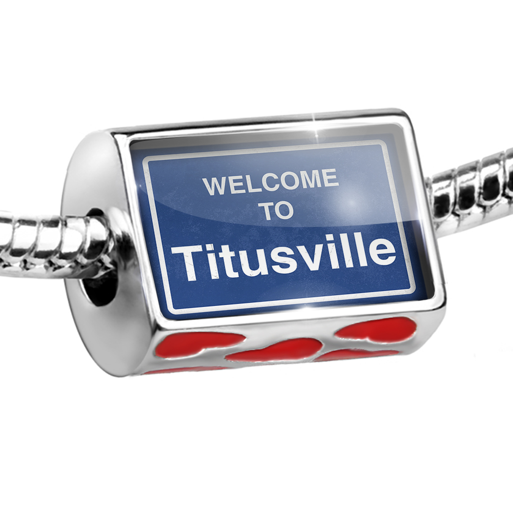 Bead Sign Welcome To Titusville Charm Fits All European Bracelets