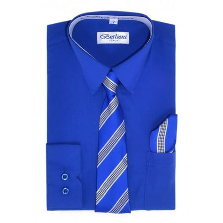 Berlioni Kids Boys Long Sleeve Dress Shirt With Tie and Hanky  Blue](Kids Dress Shorts)