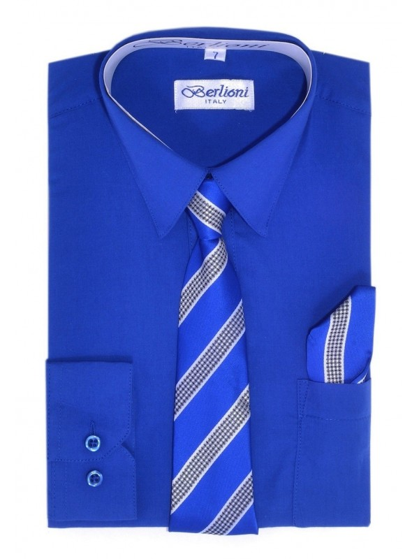 Berlioni Kids Boys Long Sleeve Dress Shirt With Tie and Hanky  Blue