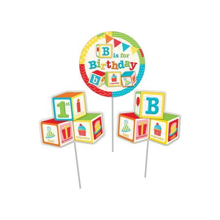 ABC Blocks Birthday DIY Centerpiece Sticks, 3 pk (Halloween Centerpiece Diy)