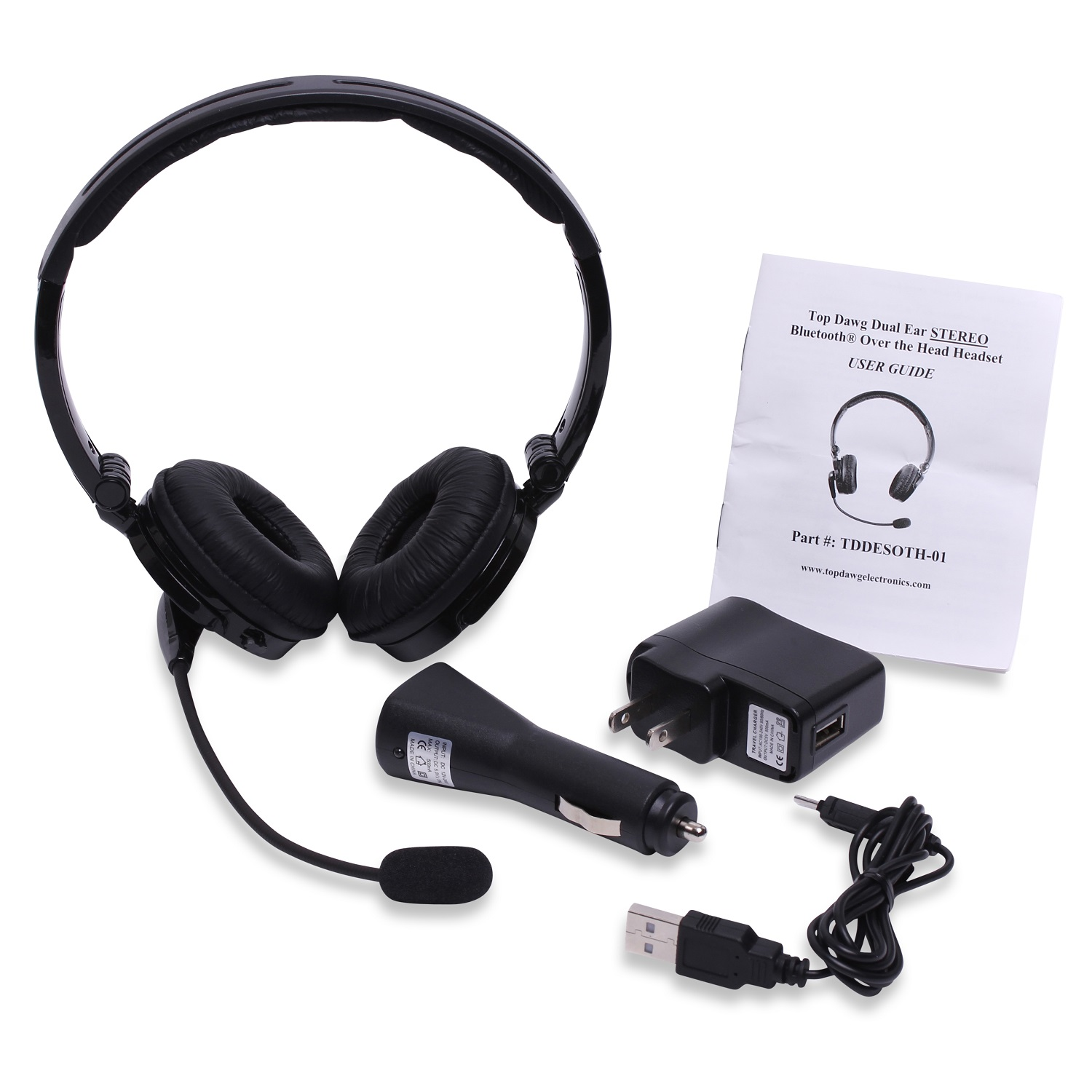 Top Dawg TDDESOTH02 2nd Generation Dual Ear Stereo Noise Canceling Bluetooth Headset