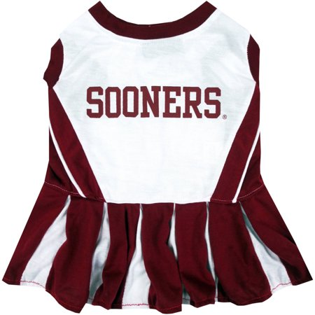 Pets First College Oklahoma Sooners Cheerleader, 3 Sizes Pet Dress Available. Licensed Dog Outfit (Oklahoma Sooners Decal)