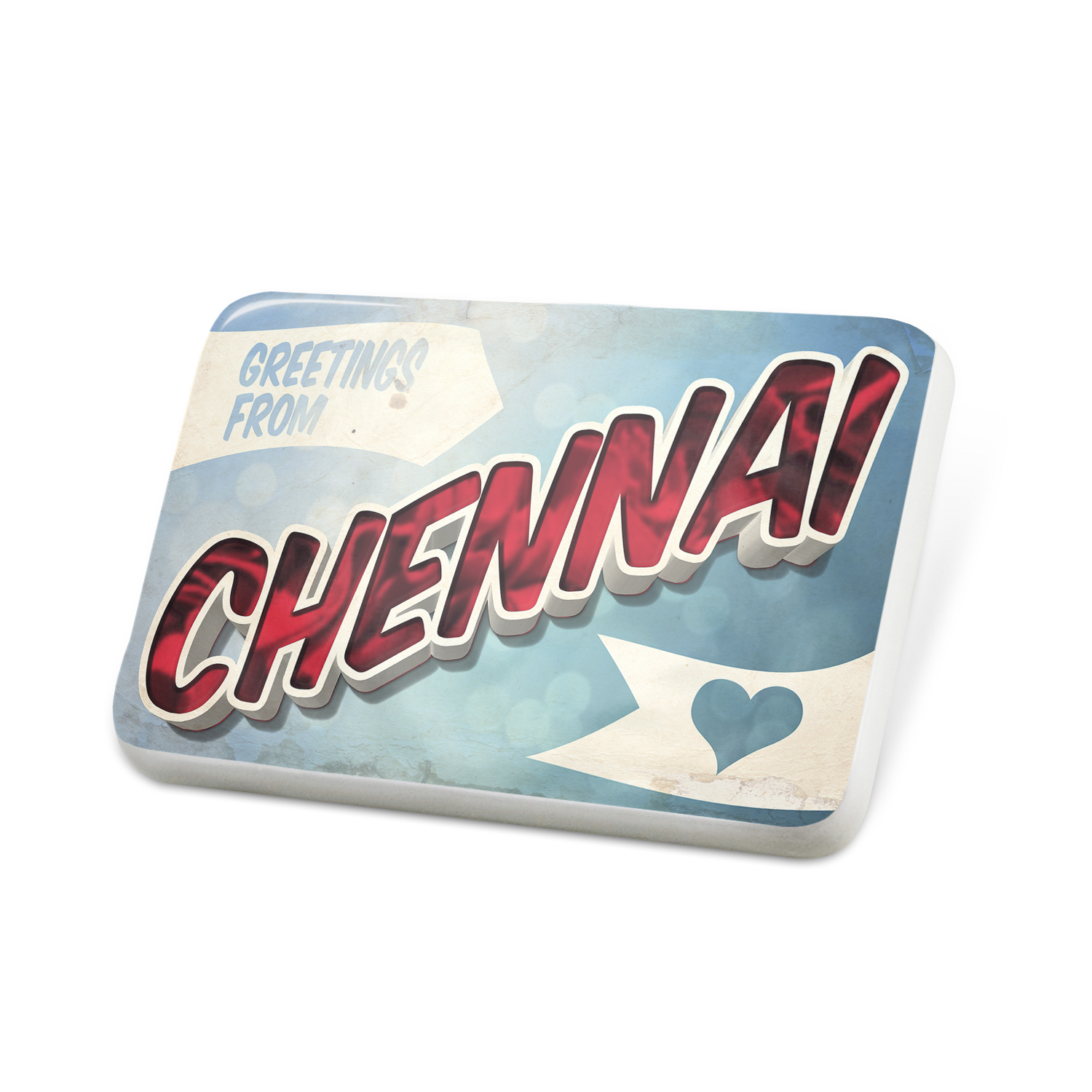 Porcelein Pin Greetings from Chennai, Vintage Postcard Lapel Badge – NEONBLOND