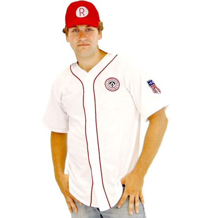 A League of Their Own Men's Rockford Peaches AAGPBL Baseball Costume Jersey and Hat ()