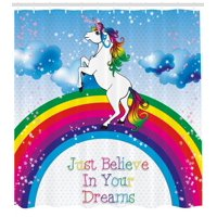 Kids Shower Curtain, Unicorn Surreal Myth Creature before Rainbow Clouds Star Fantasy Girls Fairytale Image, Fabric Bathroom Set with Hooks, Multicolor, by Ambesonne