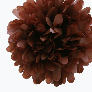 Quasimoon EZ-FLUFF 8'' Brown Tissue Paper Pom Pom Flowers, Hanging Decorations (4 Pack) by PaperLanternStore - Paris Themed Prom Decorations