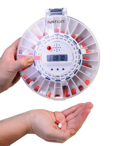 Automatic Pill Dispenser, Electronic Medication Reminder with new Lock, Louder Alarm and Flashing Light - Clear Top