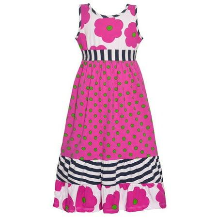 Three Friends Little Girls Fuchsia Flower Polka Dot Print Casual Dress (Casual Girl Dresses)