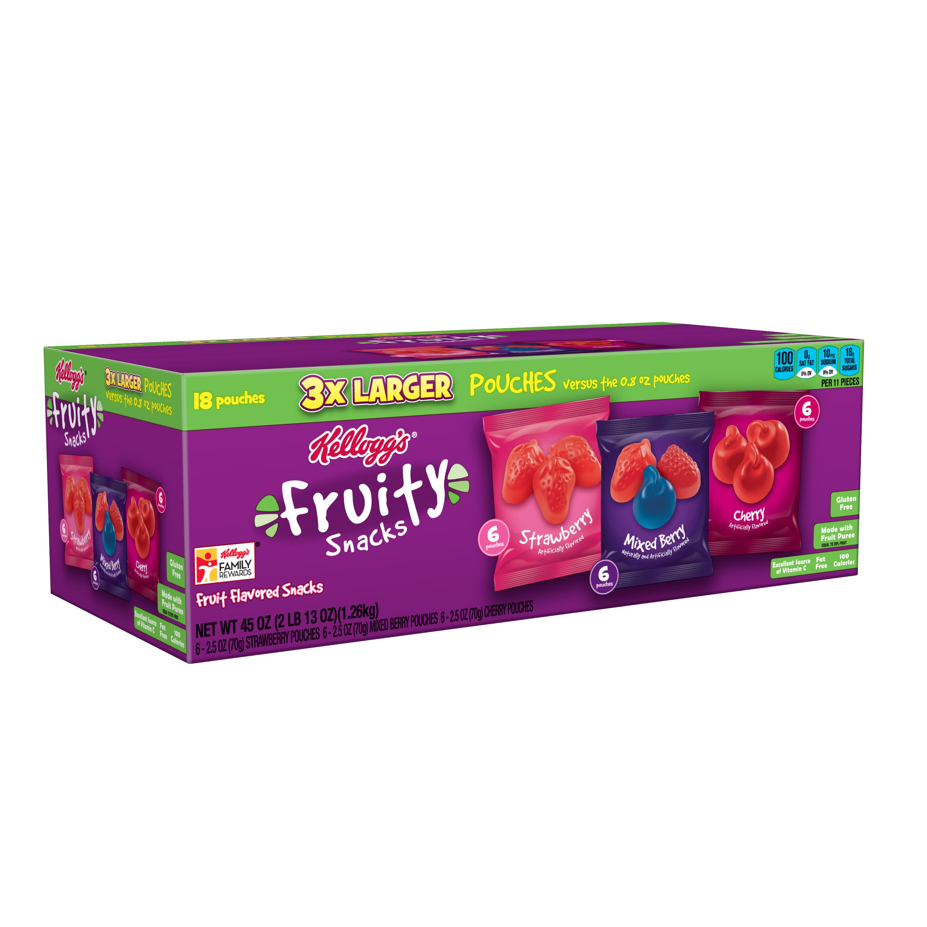 Kellogg's Strawberry, Mixed Berry and Cherry Fruit Flavored Snacks Pouches, 45 Oz., 18 Count