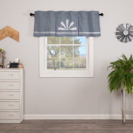 Denim Blue Farmhouse Kitchen Curtains Miller Farm Windmill Rod Pocket Cotton Hanging Loops Stenciled Chambray Graphic/Print 20x60
