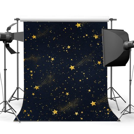 HelloDecor Polyster 5x7ft Baby Shower Backdrop Gloden Twinkle Starry Night Blue Sky Fairytale Cartoon Photography Background Boys Girls Happy Birthday Party Decoration Wallpaper Photo Studio Props