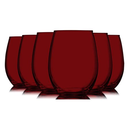 Red Full Accent Stemless 21 oz Wine Glasses - Set of 6 by TableTop King - Additional Vibrant Colors Available ()
