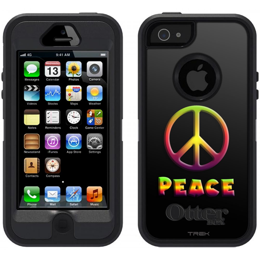 SKIN DECAL FOR OtterBox Defender Apple iPhone SE Case - Abstract Peace Art on Black DECAL, NOT A CASE