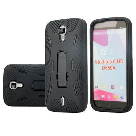 SOGA BLU Studio 6.0 HD D650A Case, [Ribbed Protection Series] Armor Kickstand Case Hybrid Hard Heavy Duty Skin Phone Cover for BLU Studio 6.0 HD D650A - Black (Telephone Blu Hd)