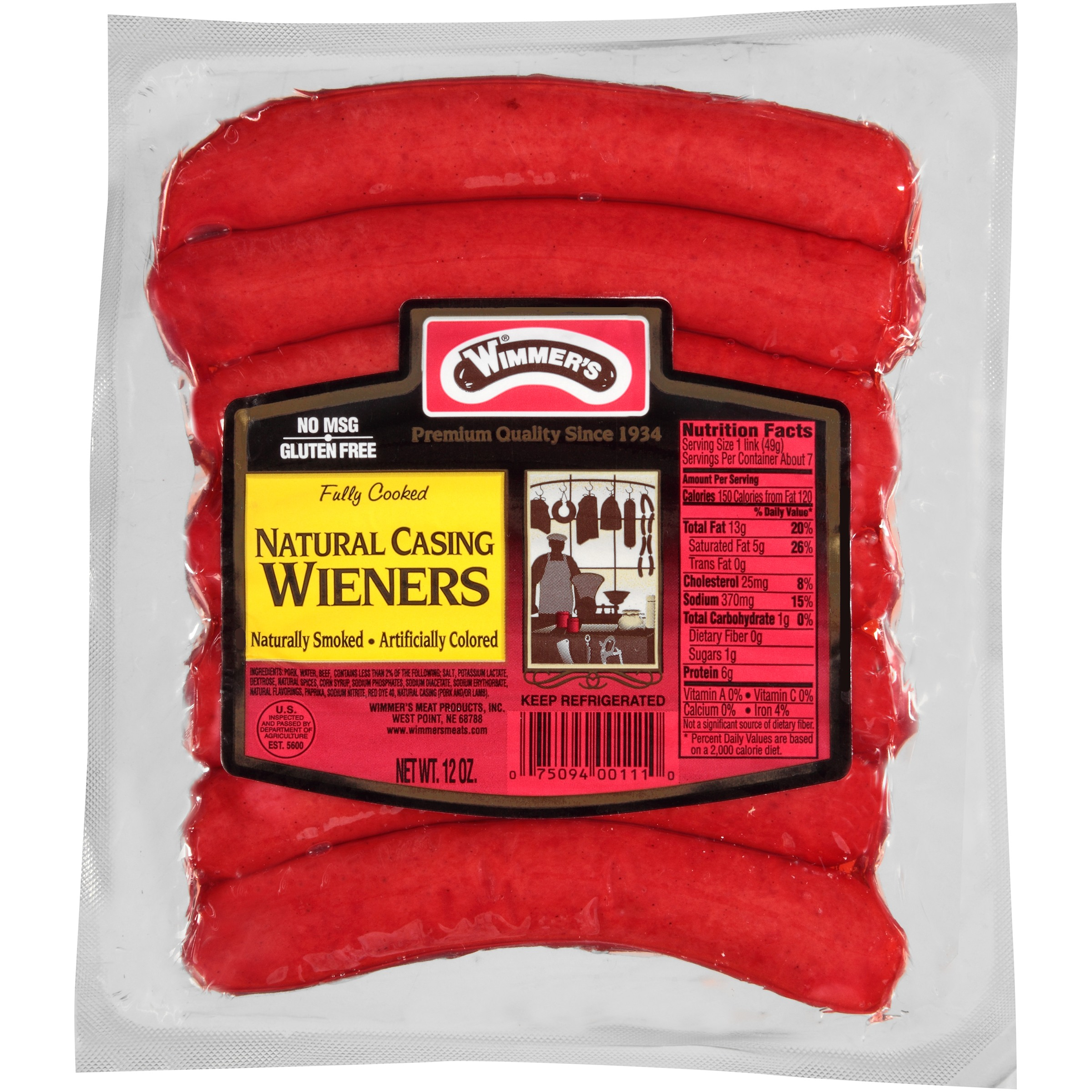 Wimmer's® Natural Casing Naturally Smoked Wieners 7 ct Pack