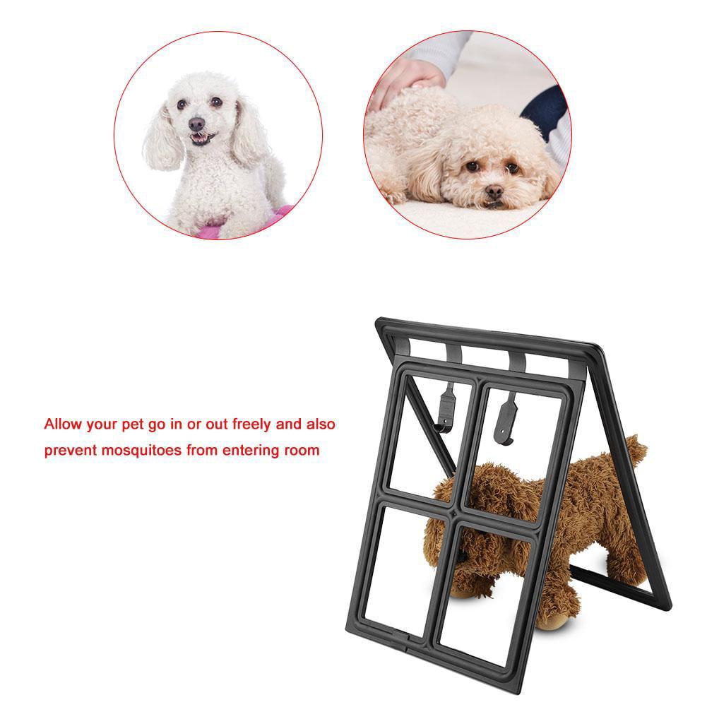 Ashata Plastic Pet Dog Puppy Cat Door Magnetic Locking Safe Flap for Screen Window Gate,Pet Dog Door, Magnetic Cat Door