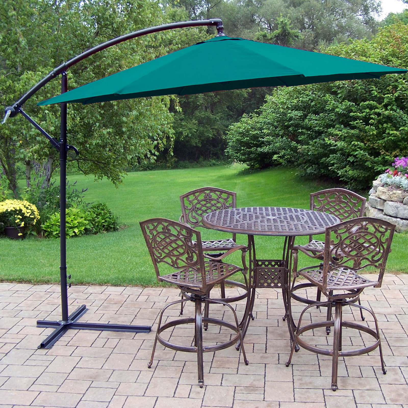 Oakland Living Antique Bronze Elite Mississippi Cast Aluminum Swivel Bar Height Patio Dining Set with Cantilever Umbrella - Seats 4