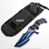 "10"" CS Go Huntsman Combat Bowie Fixed Blue Blade Knife with Pouch"