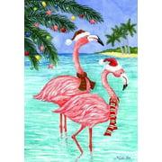 "Flamingo Christmas Nautical House Flag Beach Santa Sand Surf Holiday 28"" x 40"""