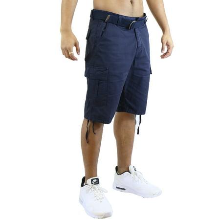 Mens Vintage Utility Cotton Cargo Shorts With Belt
