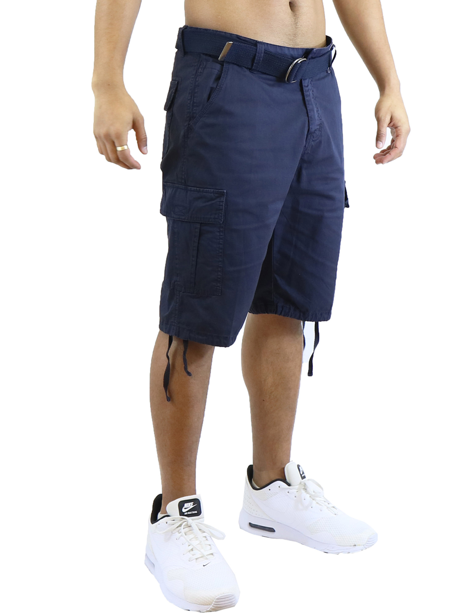 Mens Vintage Utility Cotton Cargo Shorts With Belt