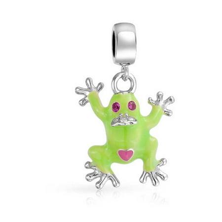 Green Claddagh Charm - Green Prince Frog Shape Dangle Charm Bead For Women Teen 925 Sterling Silver Fits European Bracelet
