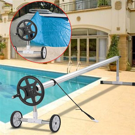 21Ft Wide Inground Stainless Steel Swimming Pool Cover Roller Reel w/Wheels  Silver
